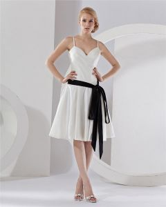 Strap V-Neck Tea-Length Taffeta Party Dress Bridesmaids Dresses
