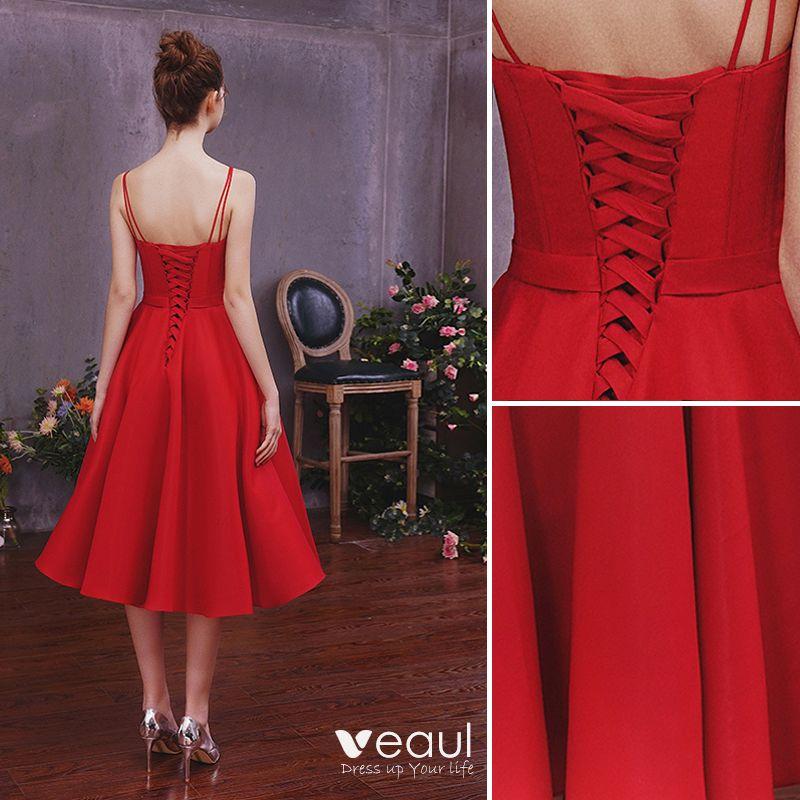 Chic / Beautiful Solid Color Burgundy Homecoming Graduation Dresses 2019 A-Line / Princess Spaghetti Straps Sleeveless Backless Tea-length Formal Dresses