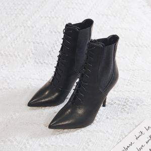 Schlicht Schwarz Strassenmode Winter Stiefel Damen 2020 Ankle Boots 9 cm Stilettos Spitzschuh Stiefel