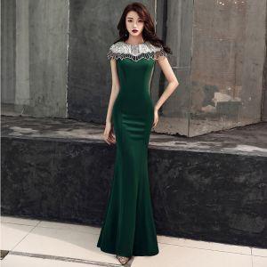 Elegant Dark Green Evening Dresses  2019 Trumpet / Mermaid Scoop Neck Beading Short Sleeve Floor-Length / Long Formal Dresses