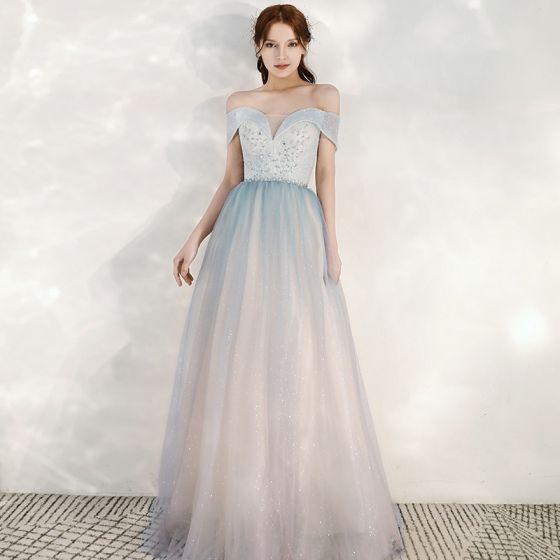 Uroczy Błękitne Gradient-Kolorów Rumieniąc Różowy Sukienki Wieczorowe 2020 Princessa Przy Ramieniu Kótkie Rękawy Bez Pleców Cekinami Tiulowe Długie Wzburzyć Sukienki Wizytowe