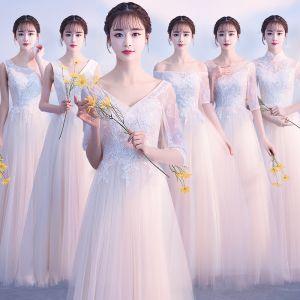 Asequible Champán Vestidos De Damas De Honor 2018 A-Line / Princess Apliques Con Encaje Largos Ruffle Sin Espalda Vestidos para bodas