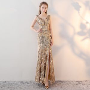 Glitzernden Gold Abendkleider 2017 Mermaid V-Ausschnitt Heimkehr Spitze Rückenfreies Pailletten Handgefertigt Abend
