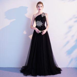 Classy Black Evening Dresses  2020 A-Line / Princess One-Shoulder Sequins Sleeveless Backless Sweep Train Formal Dresses