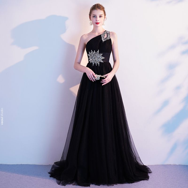 Classy Black Evening Dresses  2020 A-Line / Princess One-Shoulder Sequins Sleeveless Backless Sweep Train Formal Dresses