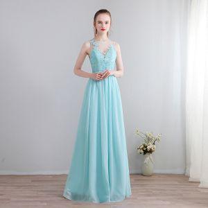Mode Blau Lange Abendkleider 2018 U-Ausschnitt Chiffon Applikationen Rückenfreies Perlenstickerei Perle Durchbohrt Abend Festliche Kleider