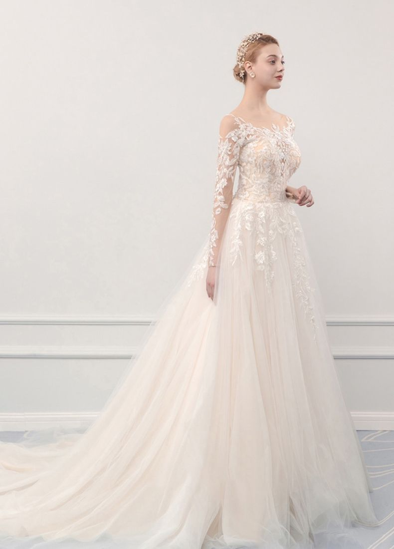 Illusion Champagne See-through Outdoor / Garden Wedding Dresses 2019 A-Line / Princess Scoop Neck Long Sleeve Pierced Appliques Lace Court Train Ruffle