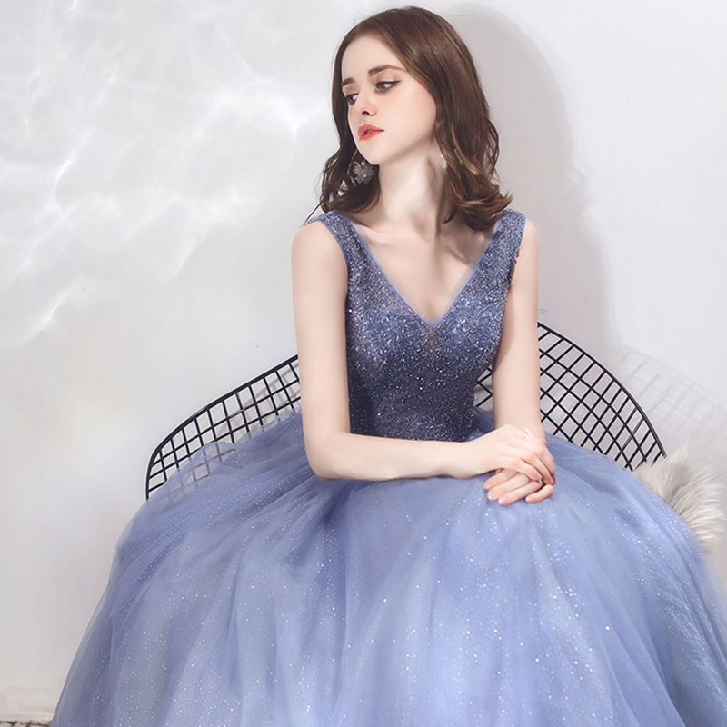 Luxury / Gorgeous Royal Blue Evening Dresses  2019 A-Line / Princess V-Neck Sleeveless Beading Glitter Tulle Floor-Length / Long Ruffle Backless Formal Dresses