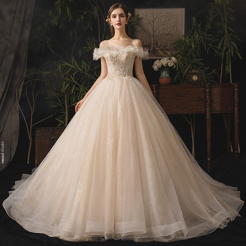 Luxury / Gorgeous Champagne Wedding Dresses 2019 A-Line / Princess Off-The-Shoulder Beading Sequins Appliques Lace Flower Sleeveless Backless Bow Cathedral Train