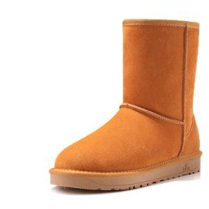 Klasyczna Buty Damskie 2017 Tan Skórzany Połowy Łydki Zamszowe Przypadkowy Zima Płaskie Snow Boots