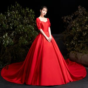 Modest / Simple Red Satin Bridal Wedding Dresses 2020 Ball Gown Square Neckline Puffy Short Sleeve Backless Cathedral Train Ruffle
