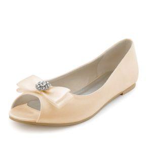 Champagne Vintage Chaussures De Mariée Escarpin Mariage Plat Avec Bowknot