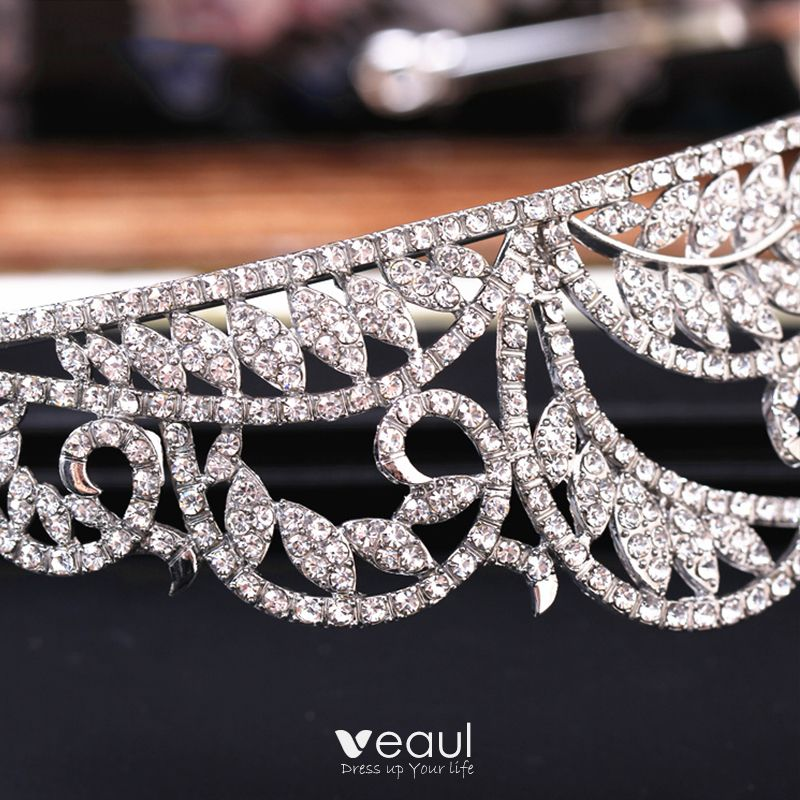 Sparkly 2017 Silver Crystal Rhinestone Metal Tiara Bridal Jewelry