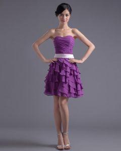 Mode Chiffong Plisserad Volang Alskling Knalang Lilla Svarta Festklänningar