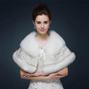 Witte Winter Glans Pailletten Nep Bont Huwelijk Gala Sjaals 2017