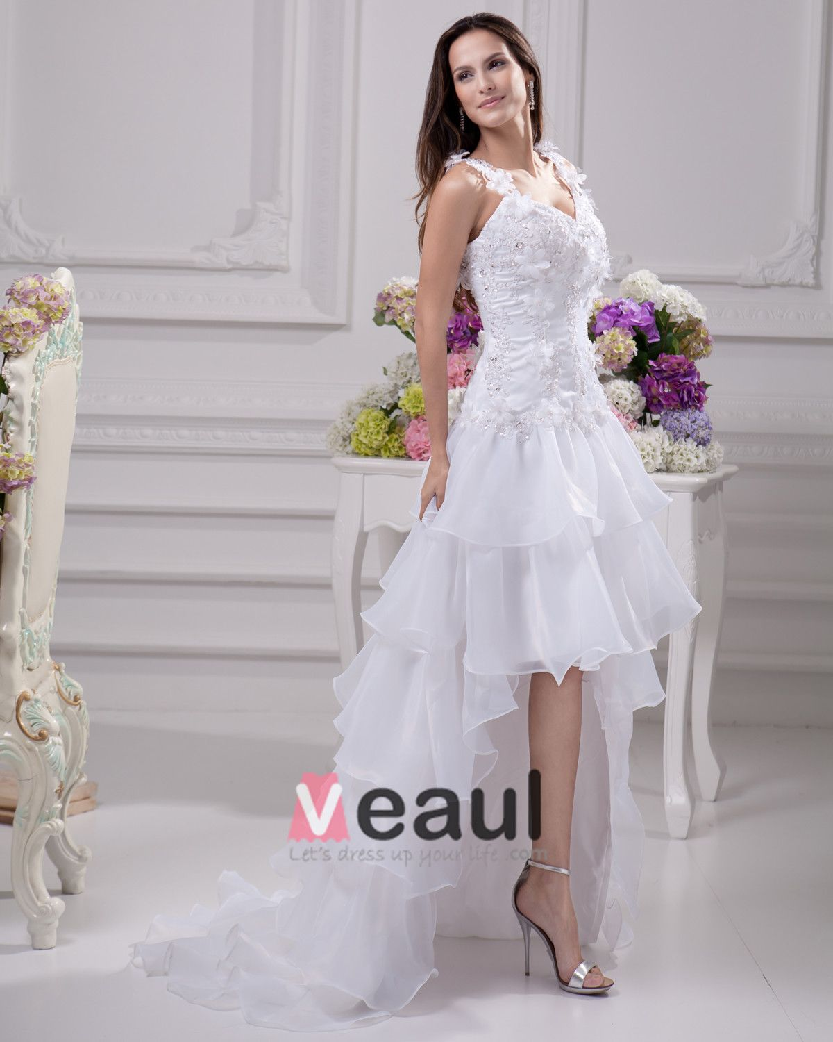 Fashion Applique Beading Floor Length Spaghetti Strap Satin Organza Lace Asymmetric Mini High Low Wedding Dress