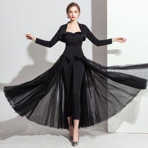 Classique Noire Combinaison Avec Châle 2019 Princesse Amoureux Sans Manches Longueur Cheville Dos Nu Robe De Soirée