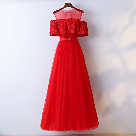 Chic / Beautiful Red Evening Dresses  2017 A-Line / Princess Lace Flower Bow Beading Scoop Neck Short Sleeve Evening Party Ankle Length