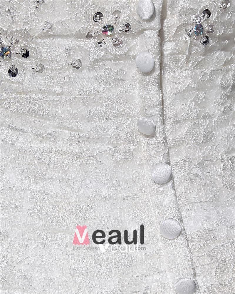 Sweetheart Ruffle Beading Floor Length Lace Woman A Line Wedding Dress