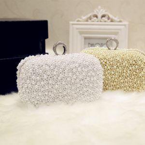 Mooie / Prachtige Luxe 2017 Goud Witte Blad Kristal Rhinestone PU Strand Tuin / Outdoor Handtassen