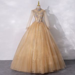 Vintage / Retro Gold See-through Dancing Prom Dresses 2020 Ball Gown High Neck Long Sleeve Appliques Lace Beading Pearl Sequins Floor-Length / Long Ruffle Backless Formal Dresses