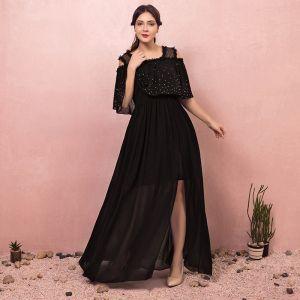 Klassisch Elegante Schwarz Übergröße Abendkleider A Linie 2018 Tülle V-Ausschnitt Rückenfreies Abend Festliche Kleider