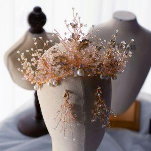 Mooie / Prachtige Goud Tiara Oorbellen Bruidssieraden 2020 Legering Blad Kristal Parel Huwelijk Accessoires