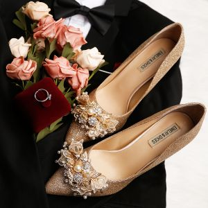 Sparkly Gold Wedding Shoes 2019 Leather Lace Flower Sequins Pearl Rhinestone 9 cm Stiletto Heels Pointed Toe Wedding Pumps