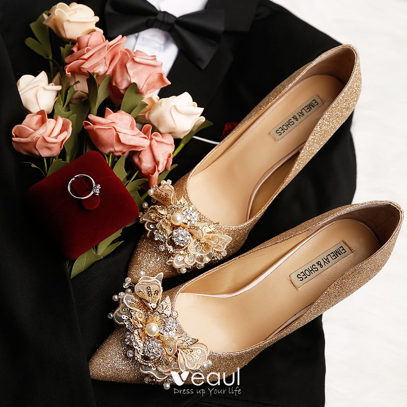 b1a3265df9167 Sparkly Gold Wedding Shoes 2019 Leather Lace Flower Sequins Pearl ...