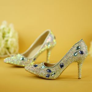 Stunning Bling Bling Multi-Colors Wedding High Heels Beading Crystal Rhinestone 7 cm Stiletto Heels Pointed Toe Wedding Shoes 2018