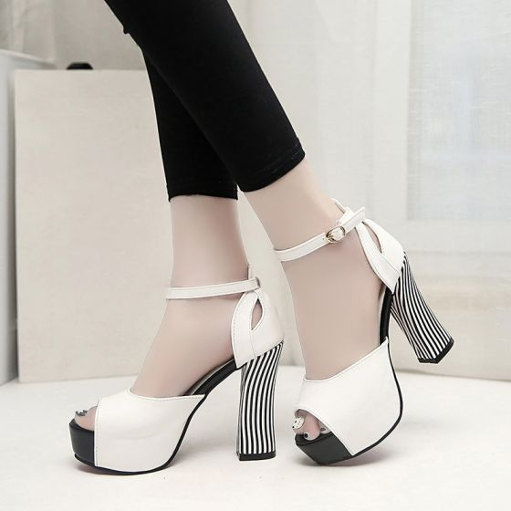 Moda 2017 Blanco Pasillo Leatherette Caer High Heels Stilettos / Tacones De Aguja Tacones