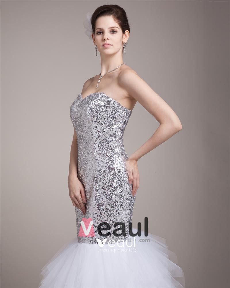 Sweetheart Floor Length Paillette Satin Women Mermaid Wedding Dress