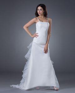 Satin Organza Applique Spaghetti Straps Sweep Sheath Bridal Gown Wedding Dress