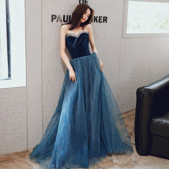 Chic / Belle Bleu Marine Robe De Soirée 2020 Princesse Amoureux Sans Manches Glitter Tulle Longue Volants Dos Nu Robe De Ceremonie