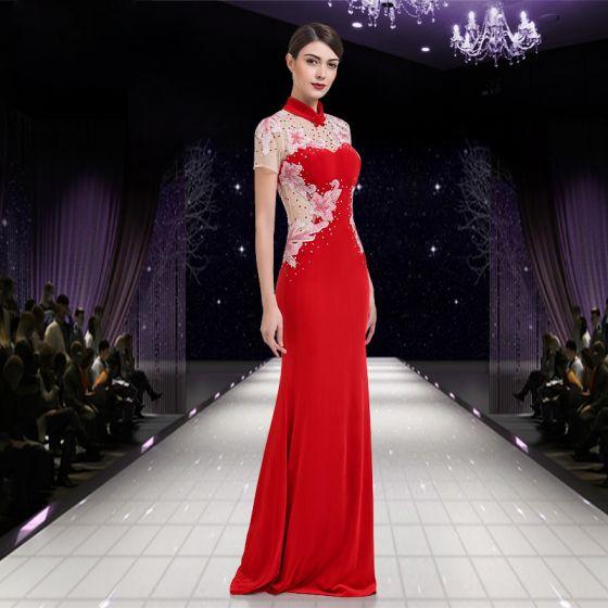 Chinese style Red Pierced Evening Dresses  2018 Trumpet / Mermaid High Neck Short Sleeve Rhinestone Floor-Length / Long Ruffle Backless Formal Dresses
