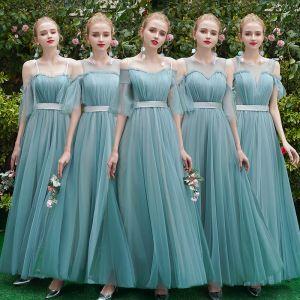 Eleganckie Jade Zielony Sukienki Dla Druhen 2019 Princessa Szarfa Długie Wzburzyć Bez Pleców Sukienki Na Wesele