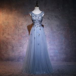 Affordable Evening Party Evening Dresses  2017 Sky Blue A-Line / Princess Floor-Length / Long Scoop Neck Sleeveless Backless Beading Bow Lace Appliques