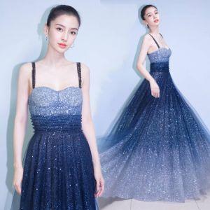 Stylowe / Modne Gwiaździste Niebo Sukienki Wieczorowe 2017 Princessa Spaghetti Pasy Bez Rękawów Gradient-Kolorów Cekiny Długie Sukienki Wizytowe