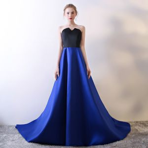 Modest / Simple Royal Blue Evening Dresses  2018 A-Line / Princess Sweetheart Sleeveless Metal Sash Cathedral Train Backless Formal Dresses