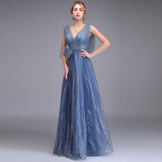 Elegantes Océano Azul Vestidos de noche 2019 A-Line / Princess V-cuello Profundo Sin Mangas Apliques Con Encaje Bowknot Cinturón Largos Ruffle Sin Espalda Vestidos Formales