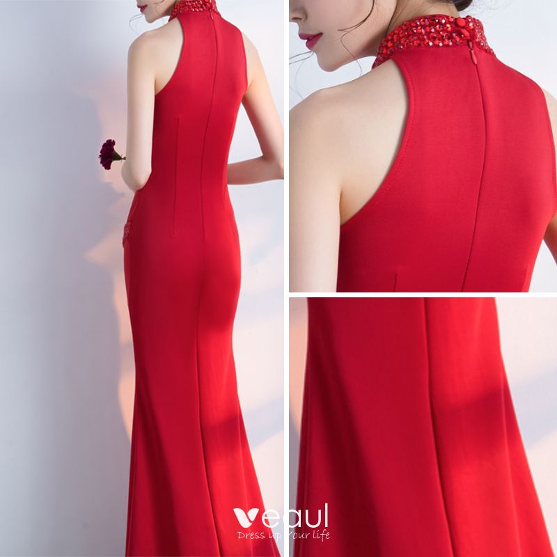 Sexy Party Dresses 2017 Split Front Rhinestone V-Neck Halter Sleeveless Floor-Length / Long Red Trumpet / Mermaid Evening Dresses