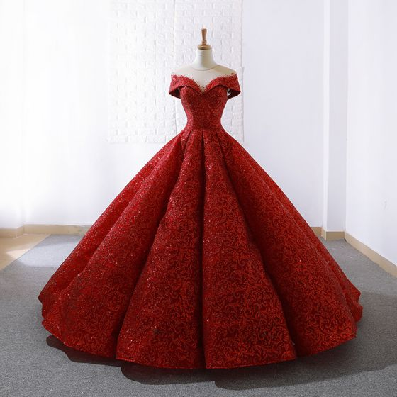 Luxe Rouge Transparentes La Mariée Robe De Mariée 2020 Robe Boule Encolure Dégagée Manches Courtes Appliques Paillettes Train De Balayage Volants