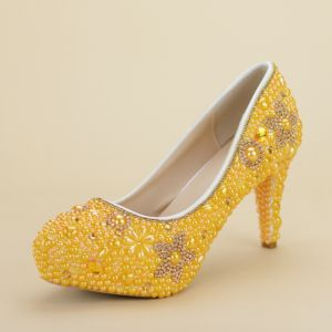 Chic / Beautiful Yellow Prom Pumps 2019 Pearl Rhinestone 14 cm Stiletto Heels Round Toe Pumps