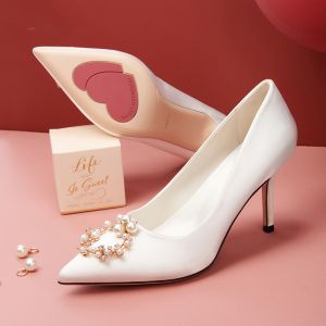 Charming Ivory Satin Rhinestone Wedding Shoes 2020 Pearl 8 cm Stiletto Heels Pointed Toe Wedding Pumps