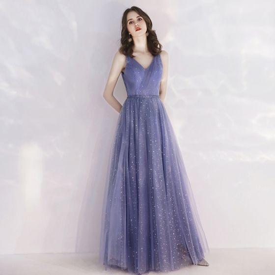 Elegant Royal Blue Evening Dresses  2019 A-Line / Princess V-Neck Spaghetti Straps Sleeveless Glitter Sequins Tulle Beading Sash Floor-Length / Long Ruffle Backless Formal Dresses