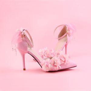 Schön Pink Ball Damenschuhe 2018 Perle Blumen Knöchelriemen 9 cm Stilettos Spitzschuh Pumps