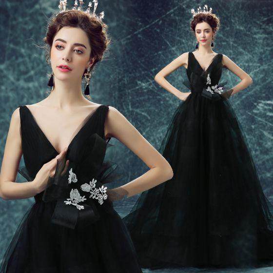 Vestidos De Gala De Glamour 2017 Profundo V-cuello Vestido De Tul Negro Sin Espalda
