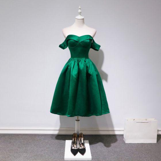 Proste / Simple Ciemnozielony Strona Sukienka 2018 Princessa Przy Ramieniu Kótkie Rękawy Długość do kolan Wzburzyć Bez Pleców Sukienki Wizytowe