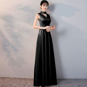 Affordable Black Satin Evening Dresses  2019 A-Line / Princess High Neck Sleeveless Beading Tassel Sash Floor-Length / Long Ruffle Formal Dresses