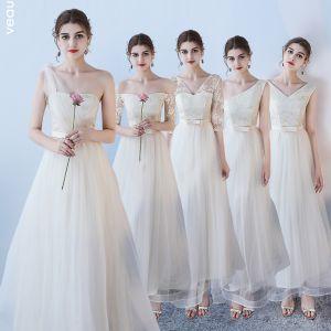 Erschwinglich Champagner Brautjungfernkleider 2018 A Linie Schleife Stoffgürtel Knöchellänge Rüschen Rückenfreies Kleider Für Hochzeit